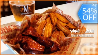 [Imagen:Wing Zone: ¡6 Alitas Boneless + Papas Fritas + All You Can Drink de Cerveza!]