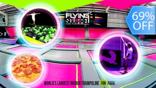 [Imagen:Flying Squirrel: All You Can Jump en Todas las Atracciones, Pizza, Bebida y Más.]