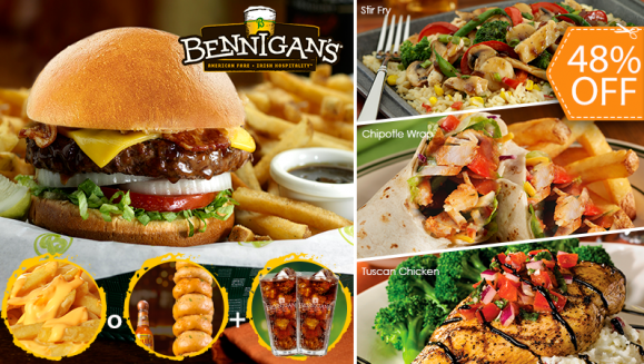 [Imagen:¡Paga $17 en Vez de $32.45 por Menú para 2 con: 1 Entrada Loaded Pub Fries o Irish Tower O´Rings + 2 Platos Fuertes a Elección entre: Tuscan Chicken, Kilkenny's Country Chicken Wrap, BBQ Bacon Cheddar Burger o Guinness Glazed Burger + 2 Bebidas!]