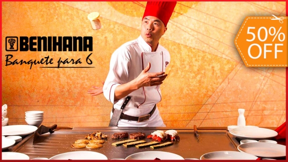 [Imagen:¡Paga $49.95 en Lugar de $100.59 por Menú Teppanyaki para 6 Personas con: 1 Teriyaki Steak, 1 Julianne Steak, 1 Benihana Steak, 1 Hibachi Chicken, 1 Spicy Chicken, 1 Lemon Chicken + 6 Órdenes de Arroz Frito + 6 Sopas + 6 Ensaladas + 6 Sodas!]